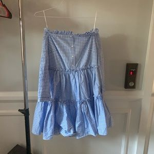 English Factory gingham off shoulder dress small